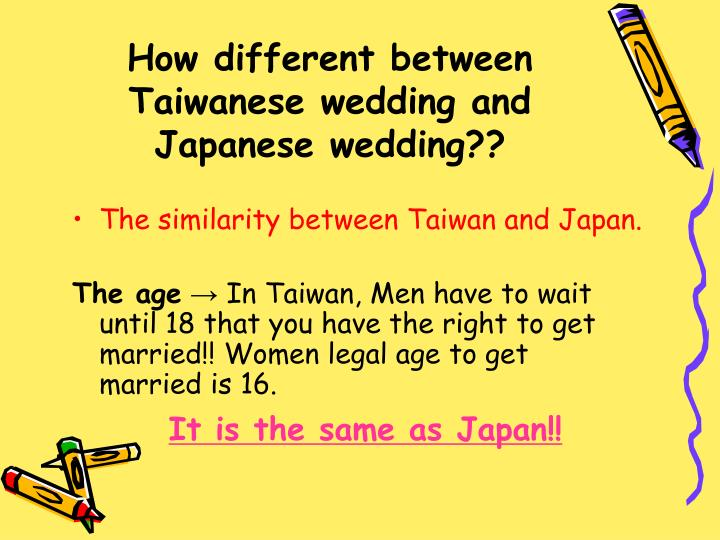 How different between taiwanese wedding and japanese wedding