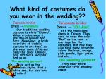 what kind of costumes do you wear in the wedding