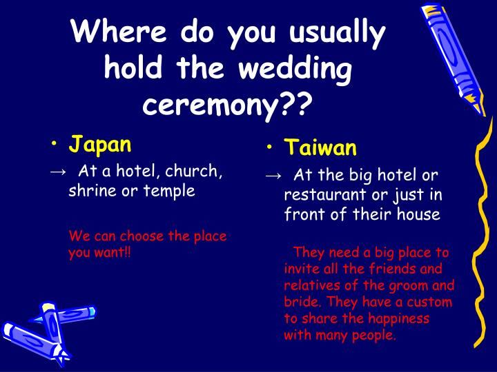 Where do you usually hold the wedding ceremony