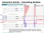 interactive activity calculating decibels