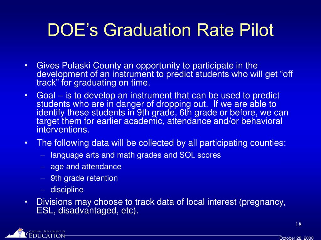 DOE's Graduation Rate Pilot