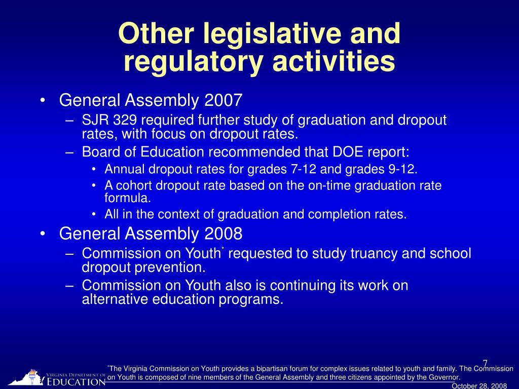 Other legislative and regulatory activities