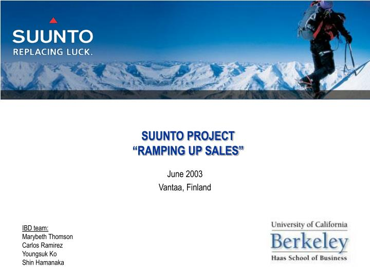 suunto project ramping up sales n.