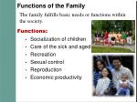 functions of the family
