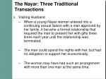 the nayar three traditional transactions8