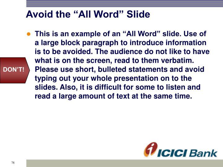 """Avoid the """"All Word"""" Slide"""