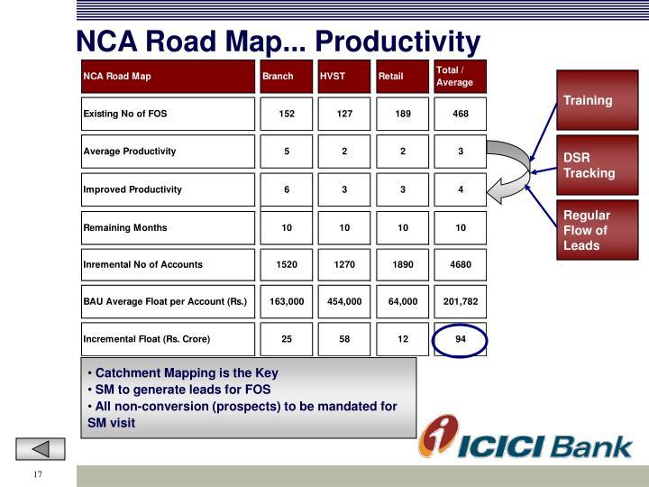 NCA Road Map... Productivity