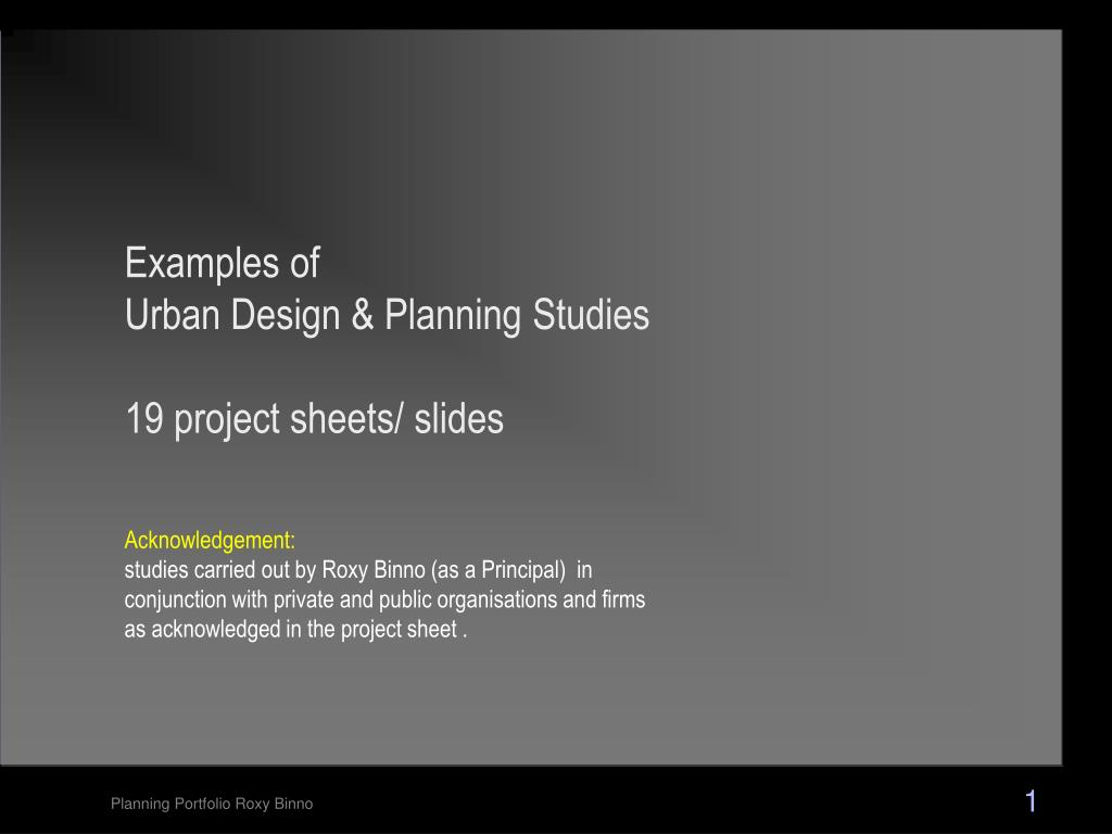 Ppt Examples Of Urban Design Planning Studies 19 Project