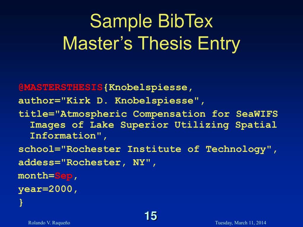 Bibtex thesis master