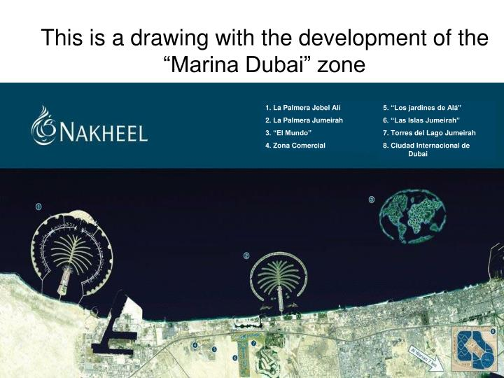 """This is a drawing with the development of the """"Marina Dubai"""" zone"""