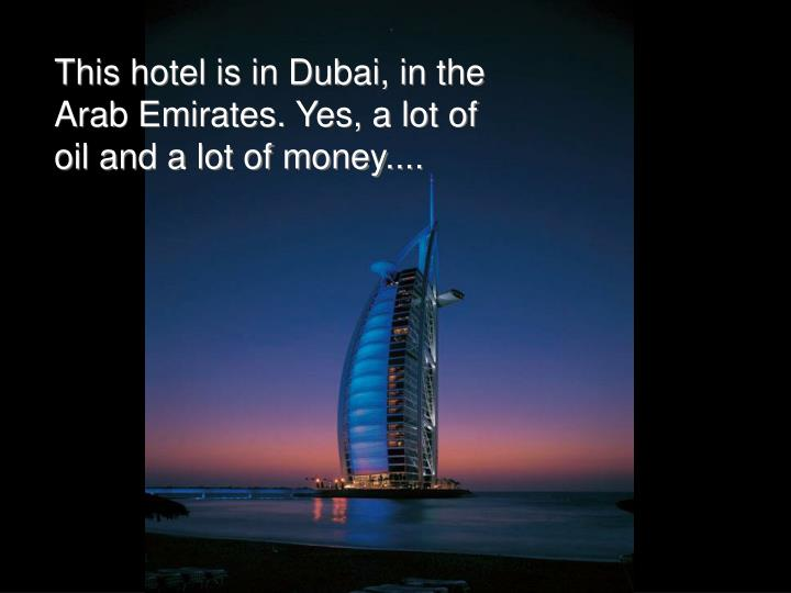 This hotel is in Dubai, in the Arab Emirates. Yes, a lot of oil and a lot of money....