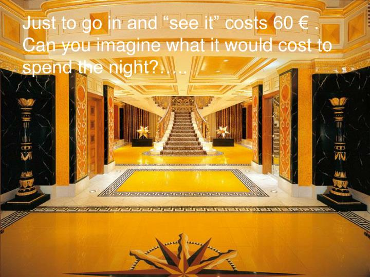 """Just to go in and """"see it"""" costs 60 € ."""