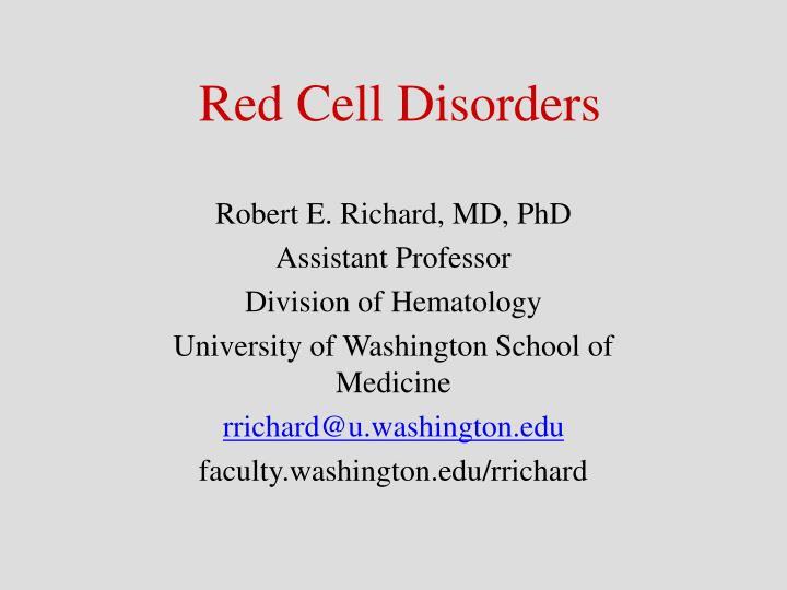 red cell disorders n.