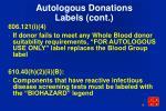 autologous donations labels cont