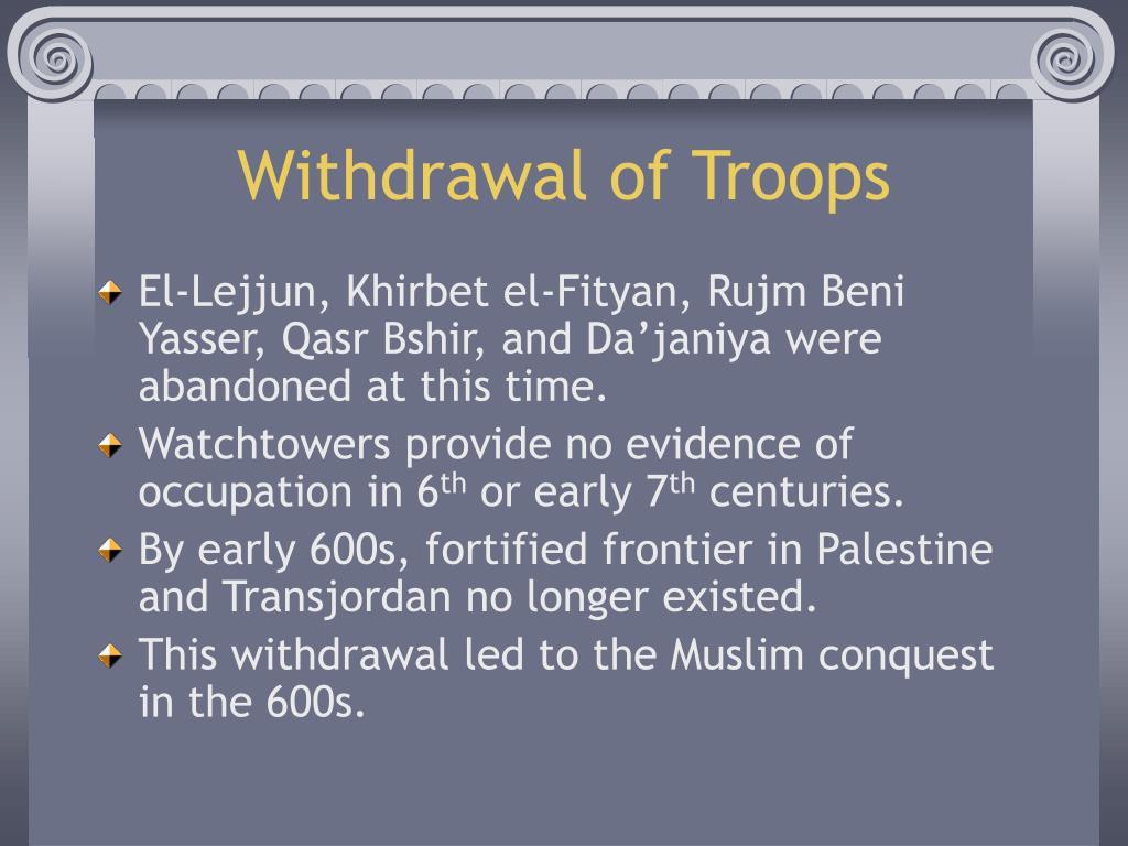 Withdrawal of Troops