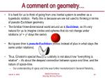 a comment on geometry
