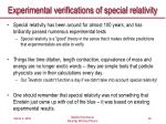 experimental verifications of special relativity