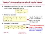newton s laws are the same in all inertial frames