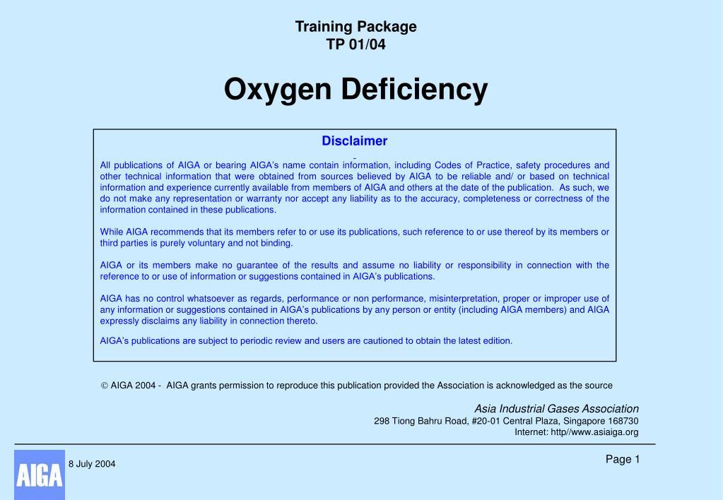 training package tp 01 04 oxygen deficiency l.