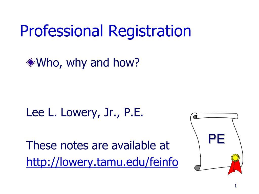 professional registration l.