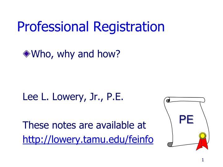 professional registration n.