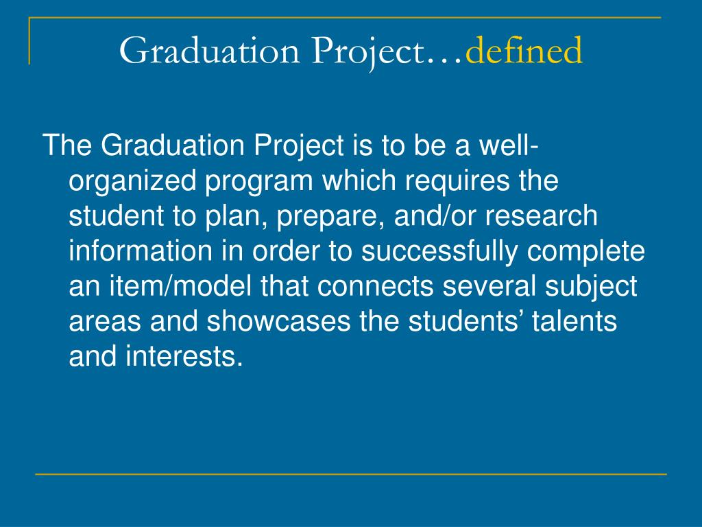 graduaton project The graduation project is a 40 credit research project on a topic related to electrical engineering, supervised by a staff member of the faculty of electrical engineering.