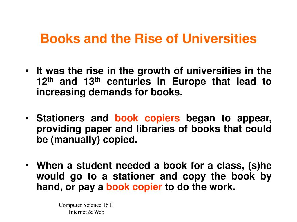 Books and the Rise of Universities