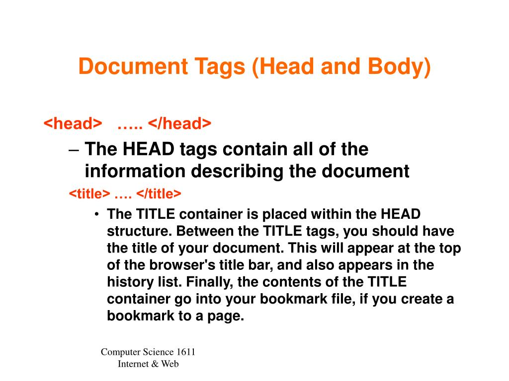 Document Tags (Head and Body)