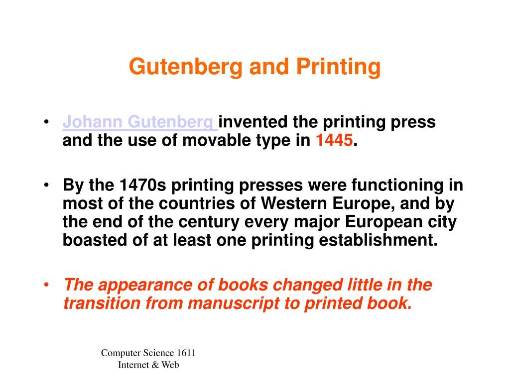 Gutenberg and Printing