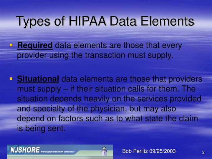 Types of hipaa data elements