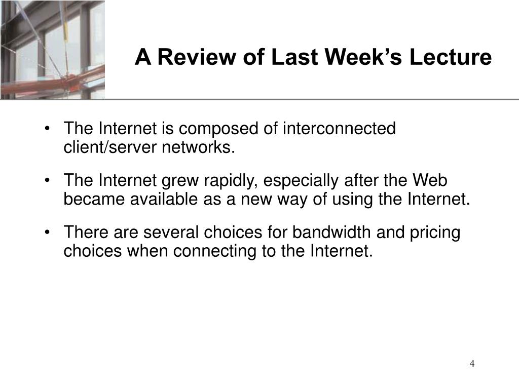 A Review of Last Week's Lecture