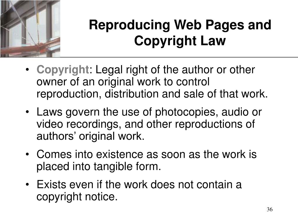 Reproducing Web Pages and Copyright Law