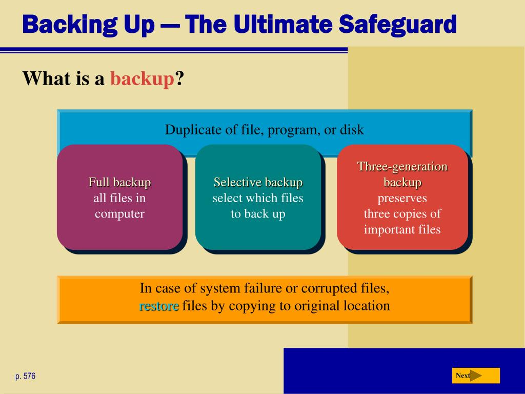 Backing Up — The Ultimate Safeguard