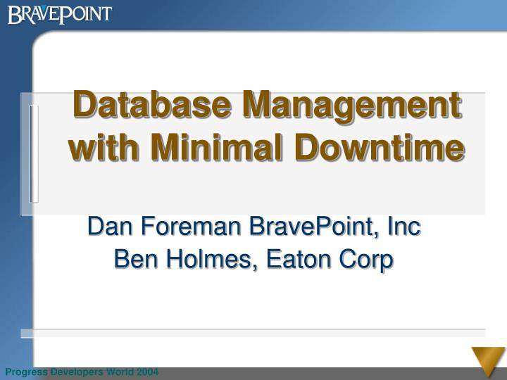 database management with minimal downtime n.