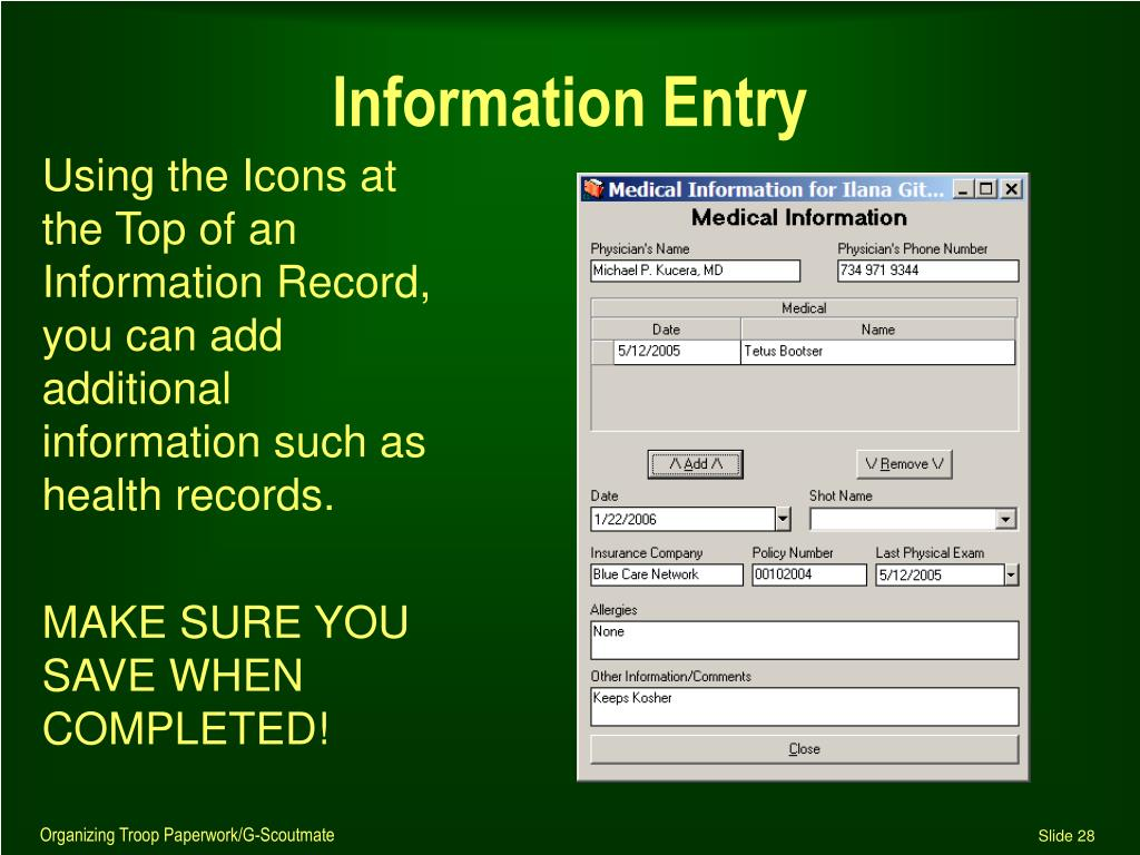 Information Entry