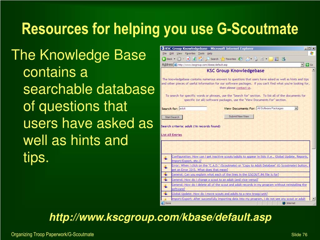 Resources for helping you use G-Scoutmate