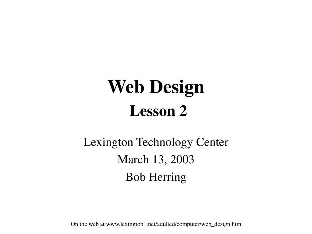 web design lesson 2 l.
