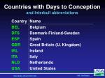 countries with days to conception and interbull abbreviations