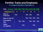 fertility traits and emphasis in largest holstein populations