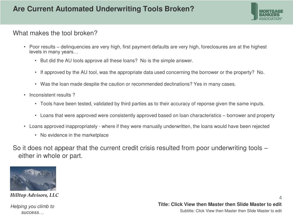 Are Current Automated Underwriting Tools Broken?