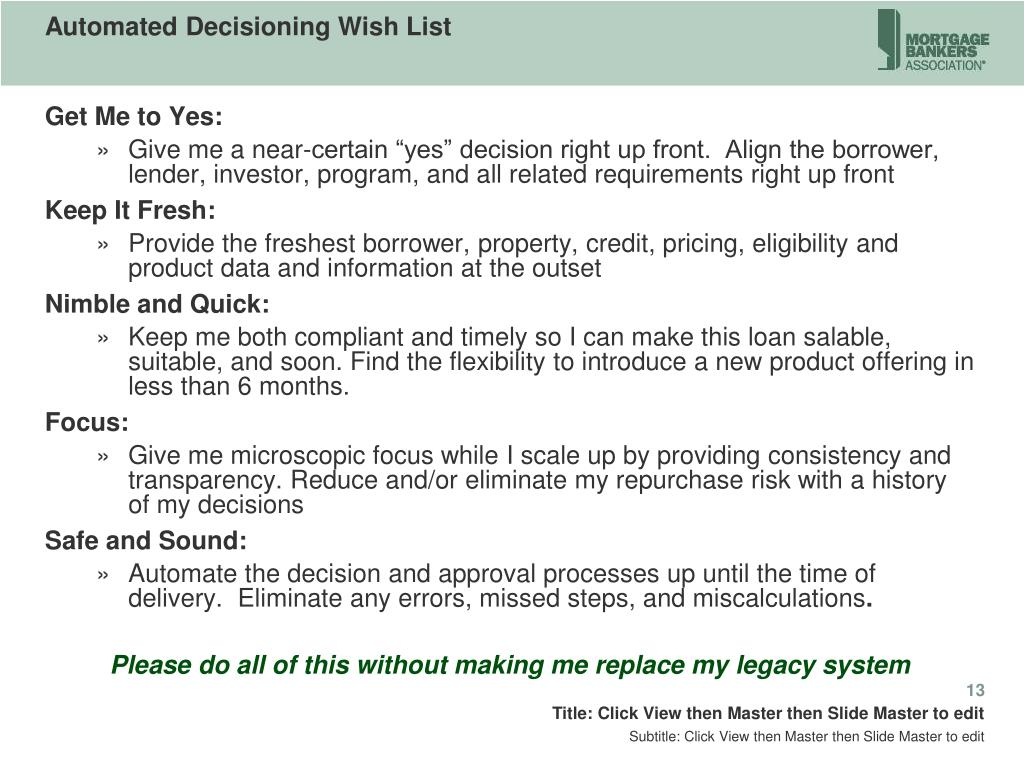 Automated Decisioning Wish List