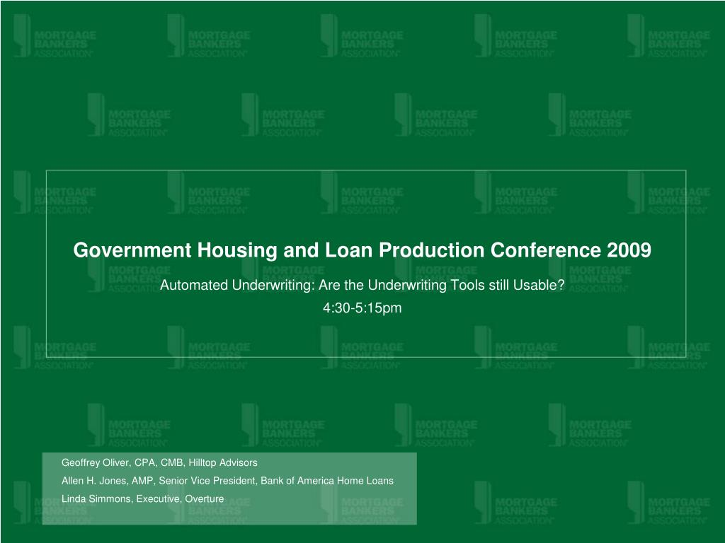government housing and loan production conference 2009 l.