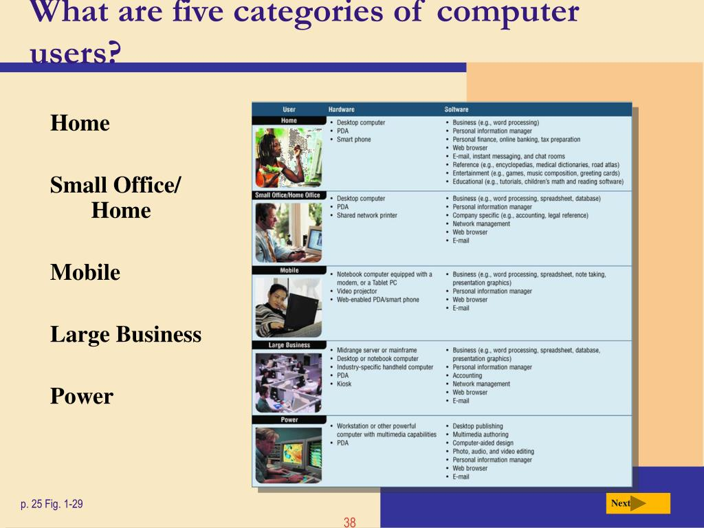 What are five categories of computer users?