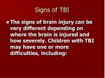 signs of tbi