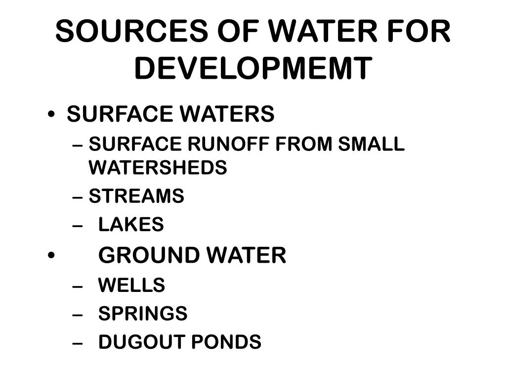 sources of water for developmemt l.