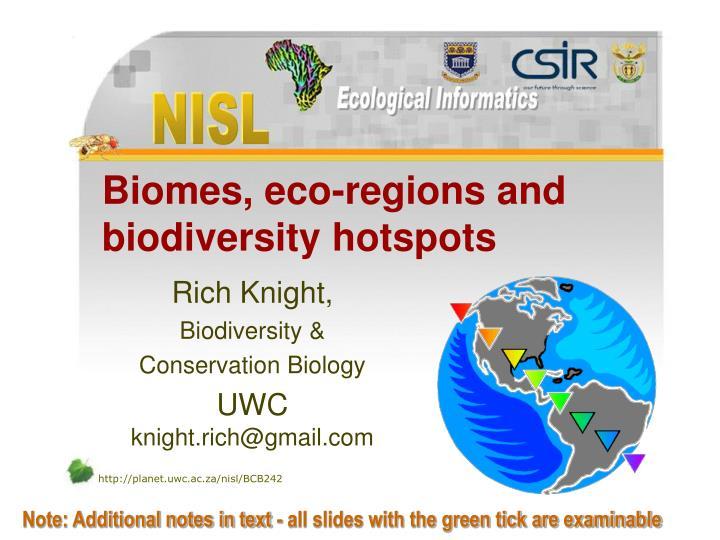 biomes eco regions and biodiversity hotspots n.