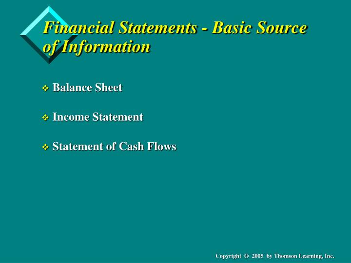 Financial statements basic source of information