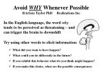 avoid why whenever possible arlene taylor phd realizations inc