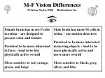 m f vision differences arlene taylor phd realizations inc
