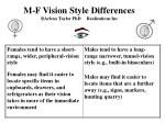 m f vision style differences arlene taylor phd realizations inc